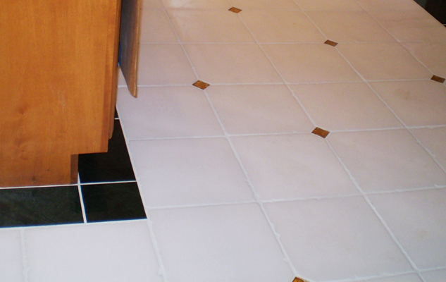 White kitchen floor