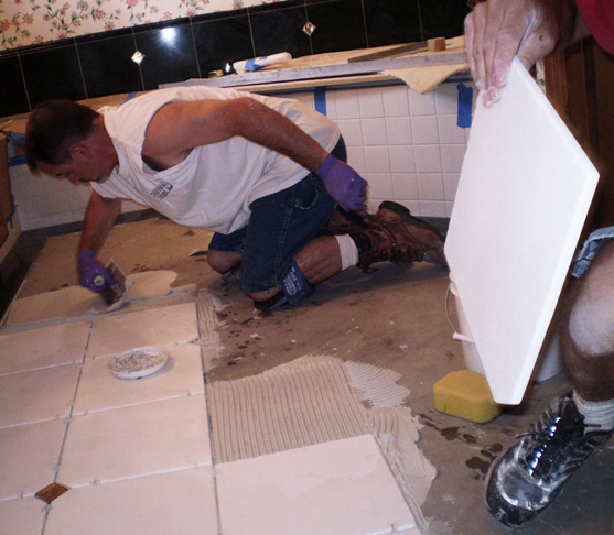 Working on a tiled floor